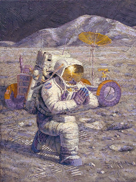 Alan Bean We Came in Peace for All Mankind Giclee On Canvas