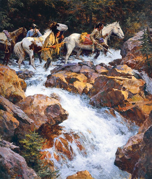 Howard Terpning WHITE WATER PASSAGE Giclee On Canvas Artist Proof