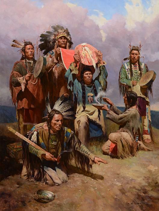 Z.S.  LiangWhite Buffalo War Shield MASTERWORKGiclee On Canvas