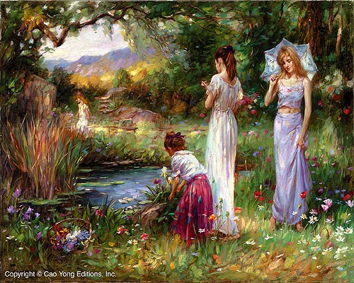 Cao Yong Garden Beauties Giclee On Canvas The Romantic Garden Series