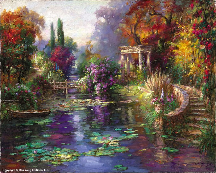 Cao Yong Garden Pond Artist Proof Giclee On Canvas Artist Proof The Romantic Garden Series