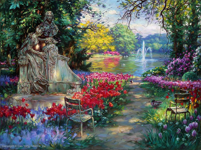 Cao Yong Garden Splendor Artist Proof Giclee On Canvas Artist Proof The Romantic Garden Series