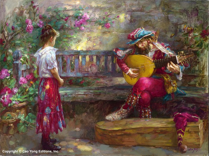 Cao Yong Girl With Musician Artist Proof Giclee On Canvas Artist Proof The Romantic Garden Series