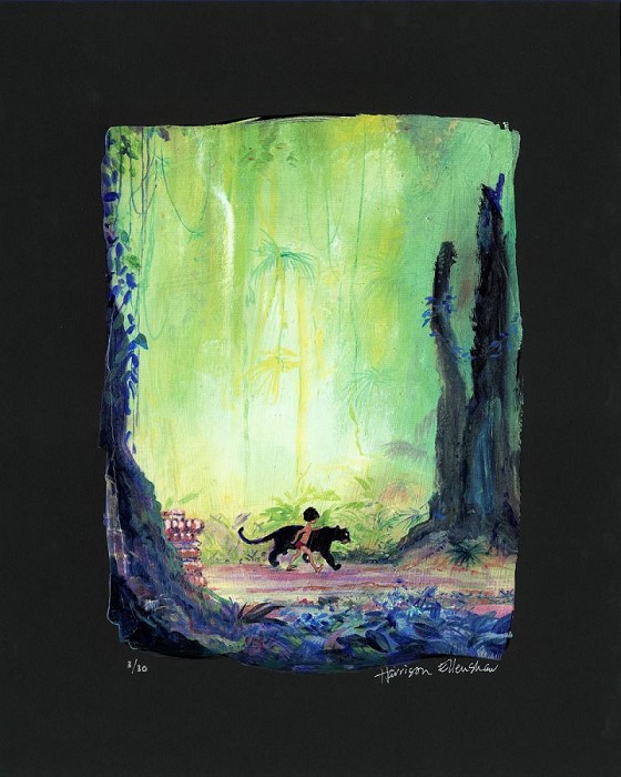 Harrison Ellenshaw Mowgli and Bagheera - From Disney The Jungle Book Ciarograph on Paper