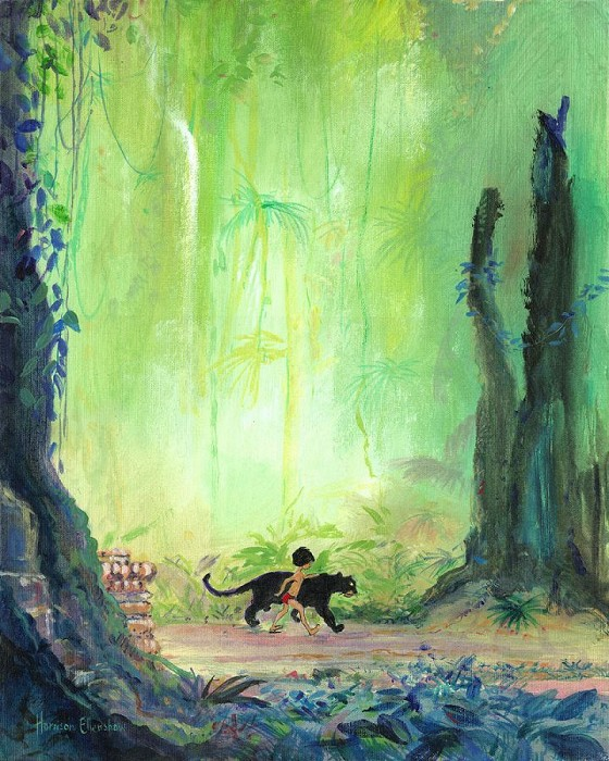 Harrison Ellenshaw Mowgli and Bagheera - From Disney The Jungle Book Hand-Embellished Giclee on Canvas