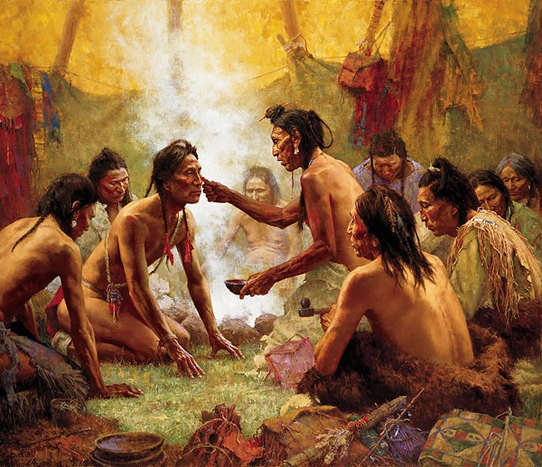 Howard Terpning BLESSING FROM THE MEDICINE MAN Canvas