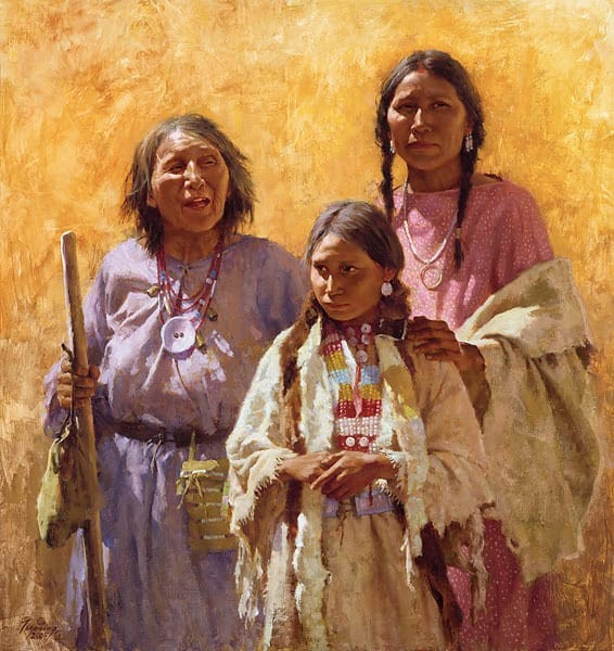 Howard Terpning Three Generations Canvas