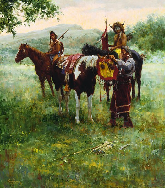 Howard Terpning Medicine Horse Mask Canvas