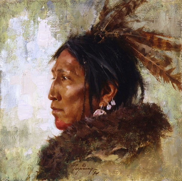 Howard Terpning Hawk Feathers SMALLWORK EDITION ON Canvas