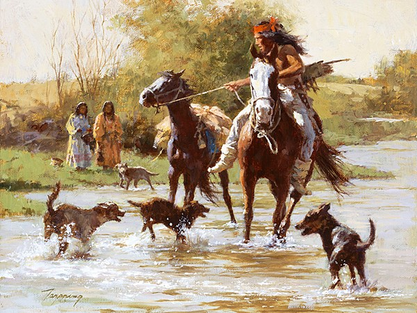 Howard Terpning Yapping Dogs SMALLWORK EDITION ON Canvas