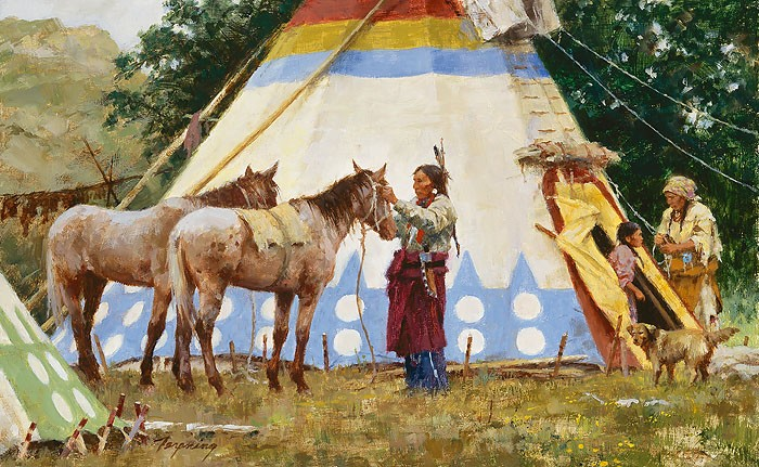 Howard Terpning The Family Home SMALLWORK EDITION ON Canvas