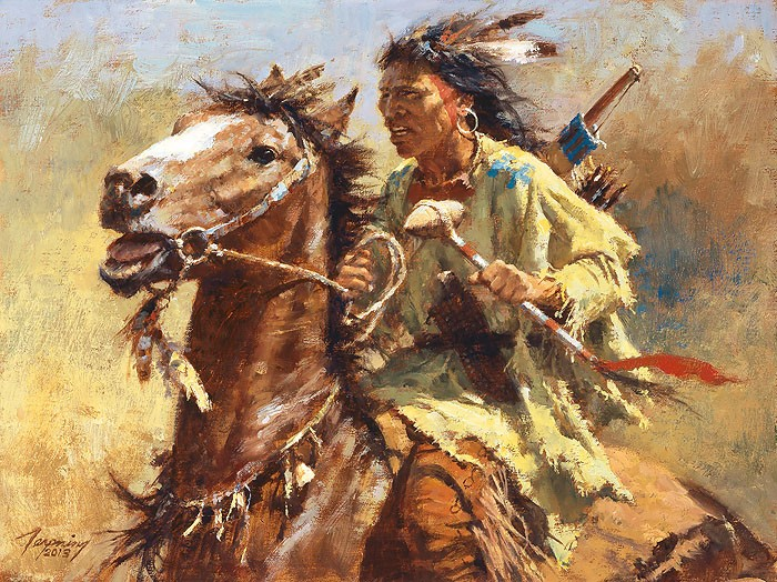 Howard Terpning War Chief Giclee On Canvas