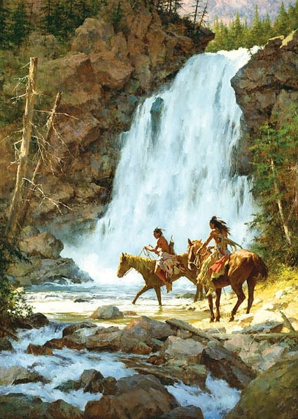 Howard Terpning Crossing Below the Falls Giclee On Canvas
