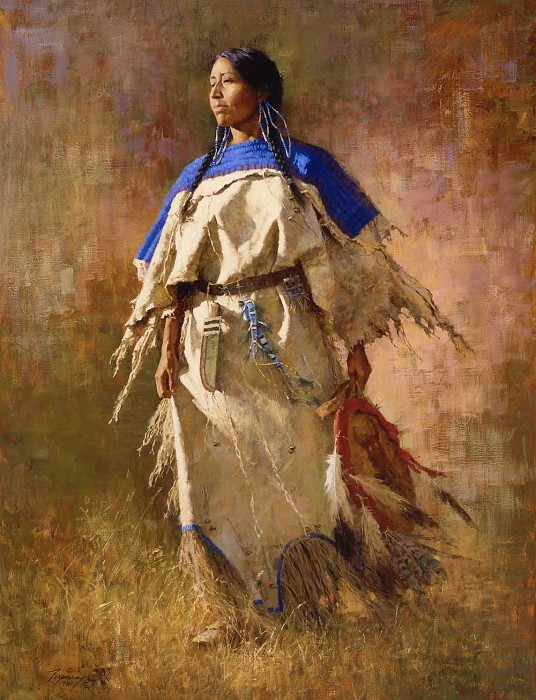 Howard Terpning Shield of Her Husband and Matching 5×7 Print Giclee On Canvas