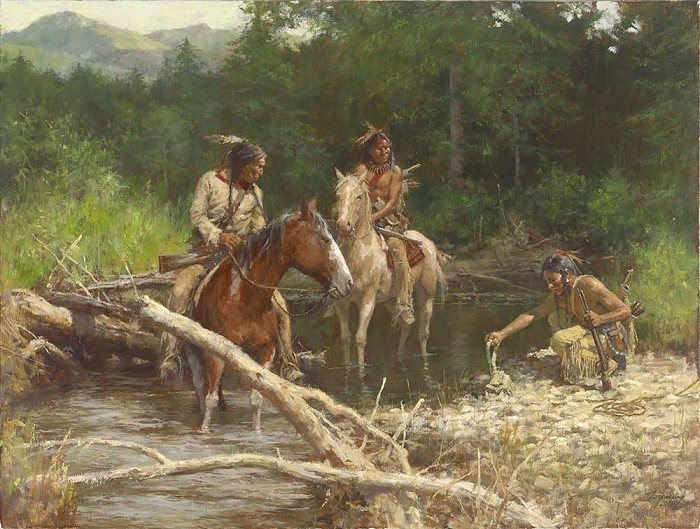 Howard Terpning Blackfeet Scouts in the Flathead Valley Giclee On Canvas