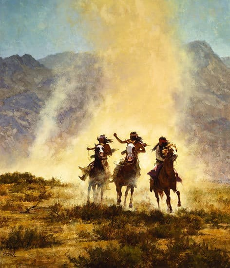 Howard Terpning Chased by the Devil Giclee On Canvas