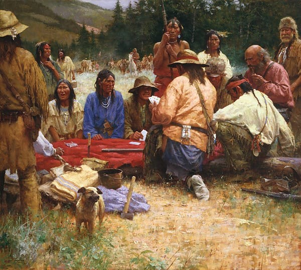 Howard Terpning A Friendly Game at Rendezvous 1832 Giclee On Canvas