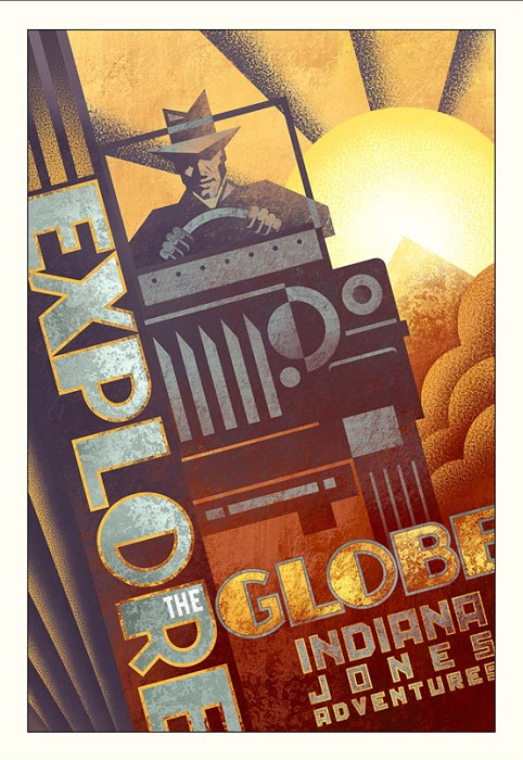 Mike Kungl Explore the Globe From Indiana Jones Giclee On Canvas