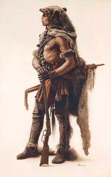 James Bama Northern Cheyenne Wolf Scout Giclee On Canvas
