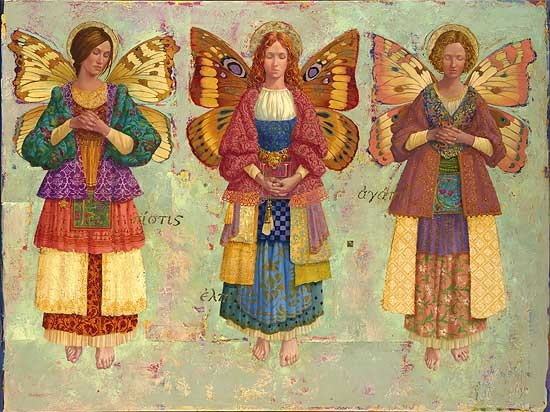 James Christensen Faith Hope And Charity Masterwork Canvas Edition