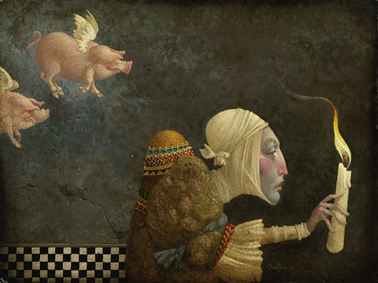 James Christensen If Pigs Could Fly Artist Proof Canvas