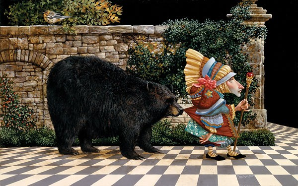 James Christensen Lawrence Pretended Not to Notice That a Bear Had Become ANNIVERSARY EDITION Giclee On Canvas