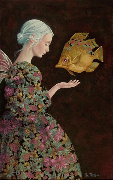 James Christensen Finding Your Fish Artist Proof SMALLWORK EDITION Giclee On Canvas