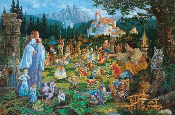 James Christensen The Chess Match Canvas