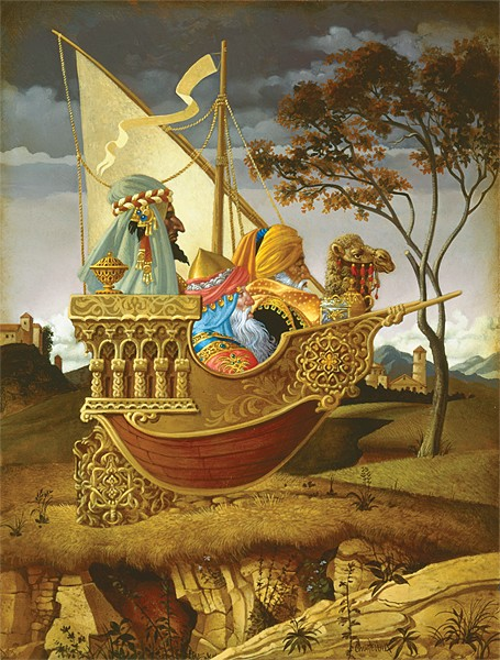 James Christensen Three Wise Men in a Boat Canvas