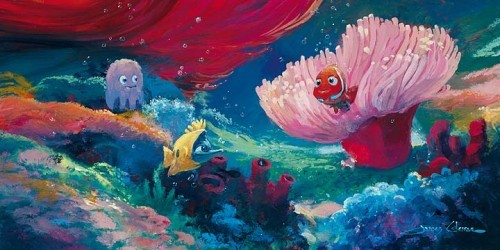 James Coleman Come Out and Play - From Disney Finding Nemo Hand-Embellished Giclee on Canvas