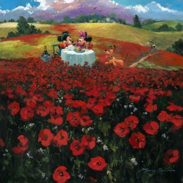 James Coleman Red Poppies Premiere Edition Hand-Embellished Giclee on Canvas