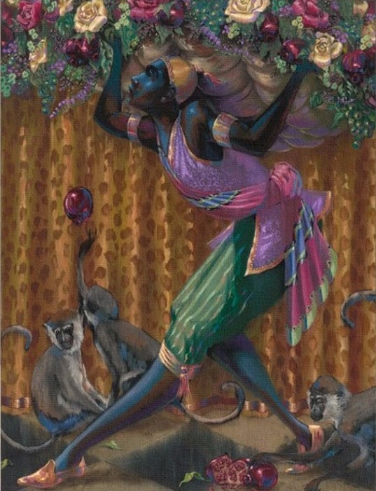 John Holyfield BLACKAMOOR WITH MONKEYS Giclee On Canvas