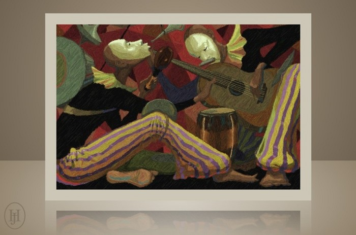 John Holyfield ENTERTAINERS - TWO MAN BAND REMARQUE Giclee On Paper