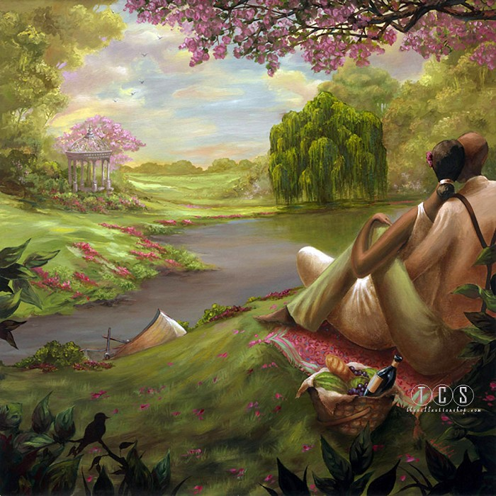 John Holyfield Romantic Rendezvous Giclee On Canvas