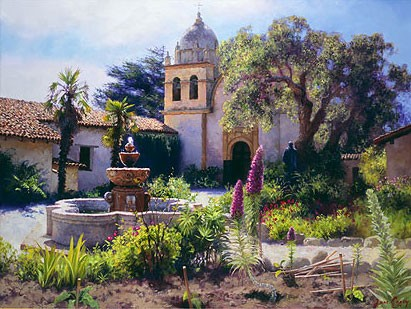 June Carey Springtime In The Mission Garden Canvas