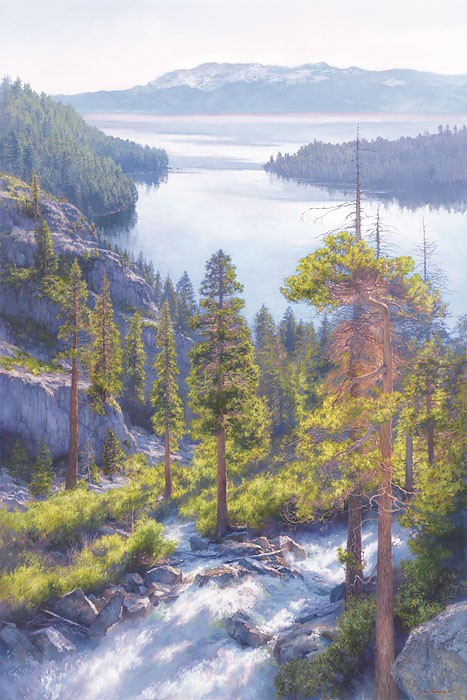 June Carey Cascade of Light, Emerald Bay, Lake Tahoe Giclee On Canvas