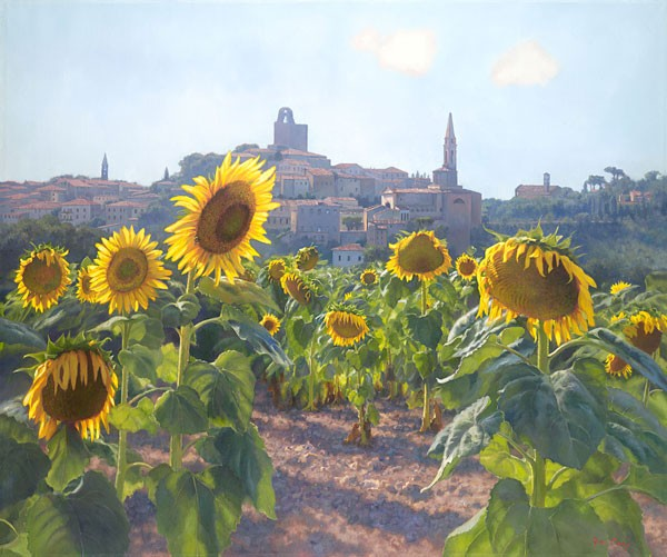 June Carey Sunflowers of Castiglion Fiorentino MASTERWORK EDITION ON Canvas
