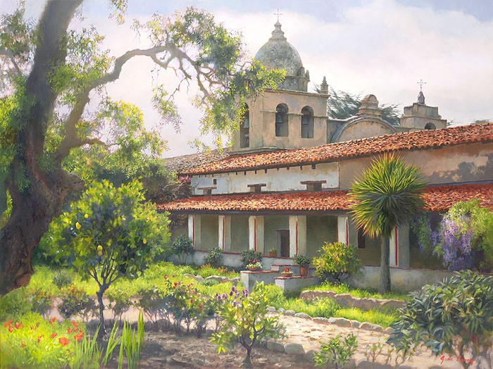June Carey Carmel Mission Garden OPEN EDITION Canvas