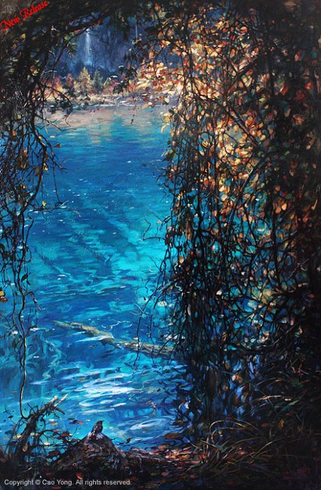 Cao Yong Jiuzhaigou Valley I Artist Proof Giclee On Canvas Artist Proof The Eastern Series