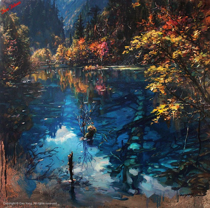 Cao Yong Jiuzhaigou Valley II Artist Proof Giclee On Canvas Artist Proof The Eastern Series