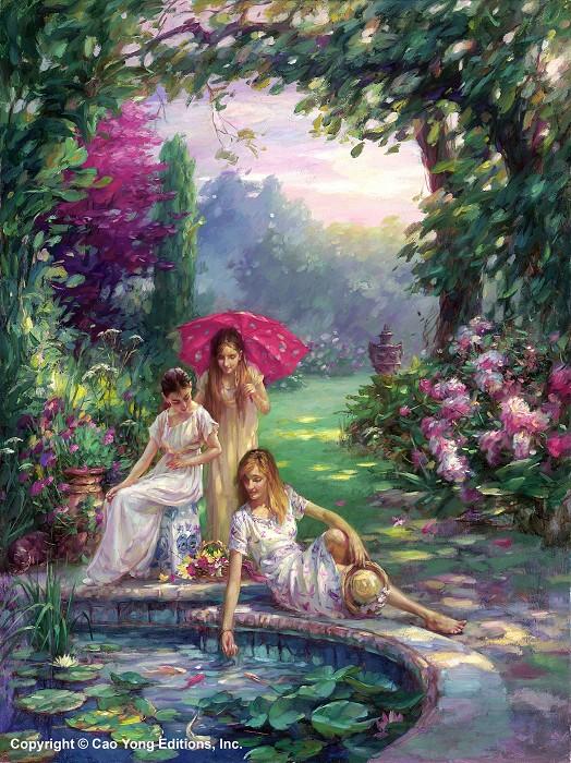 Cao YongKoi Pond Artist ProofGiclee On Canvas Artist Proof The Romantic Garden Series
