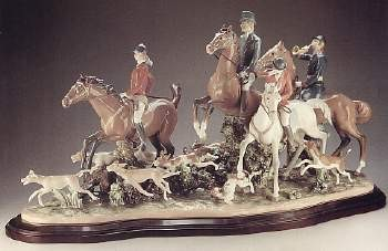 Lladro Fox Hunt Porcelain Figurine