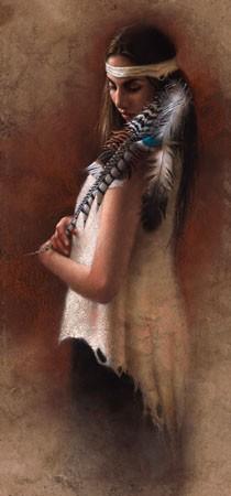 Lee BogleProud Cherokee Princess Artist Proof Hand EnhancedGiclee On Canvas