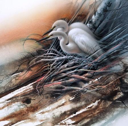 Lee BogleWhite EgretsGiclee On Canvas