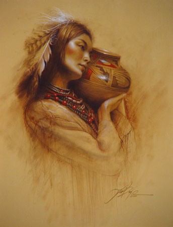 Lee Bogle Maiden with Pot Artist Proof Hand Enhanced Giclee On Canvas