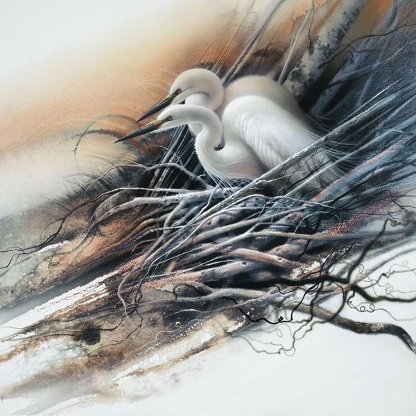 Lee BogleWhite Egrets Hand EnhancedGiclee On Canvas
