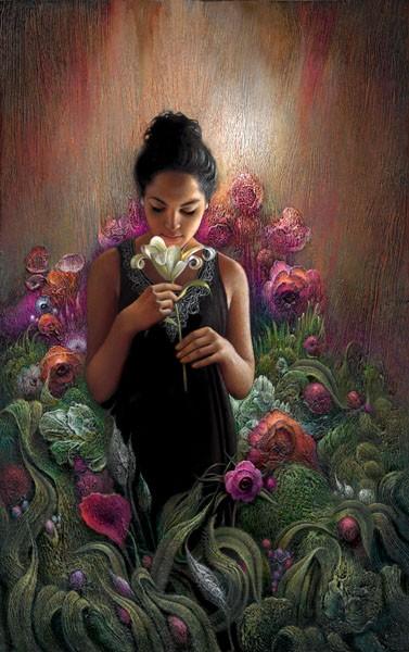 Lee BogleWhite LilyGiclee On Canvas