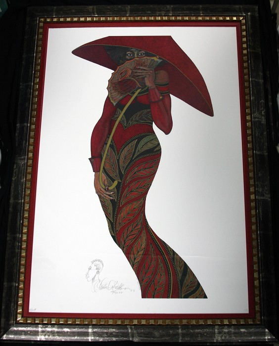 Charles Bibbs The Red Umbrella -Litho  Printers Proof Remarque Framed