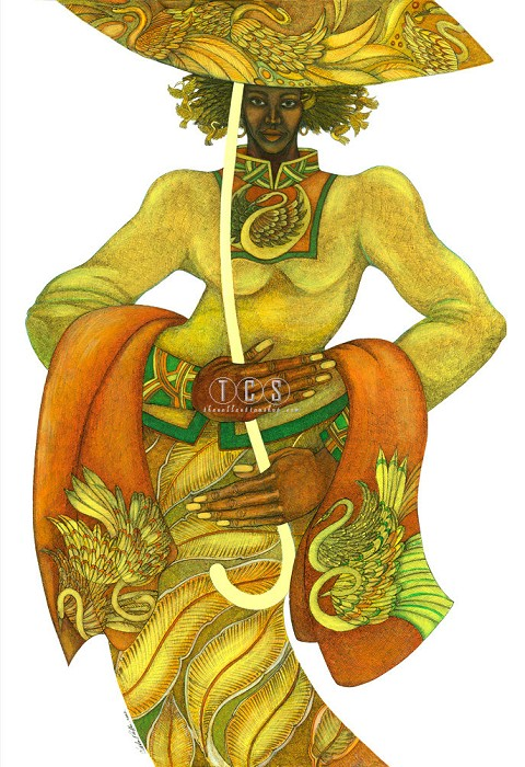 Charles Bibbs Yellow Umbrella Giclee On Paper