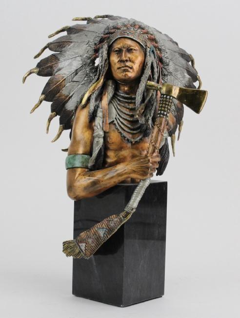 Christopher PardellEminent Crow - Chief Plenty CoupsBronze Sculpture